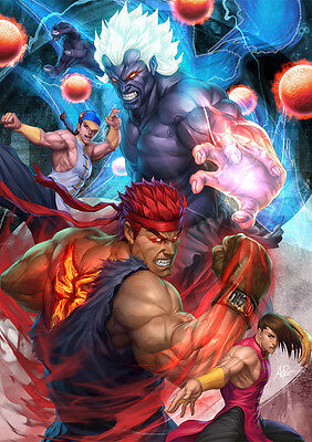 Sticker Autocollant Poster A4 Mix Jeux Video Strret Fighter 4. Yun Yan Evil Ryu
