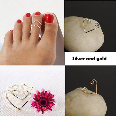 2Pcs Women Lady Fashion Gold Silver Metal Toe Ring Foot Beach Jewelry Adjustable