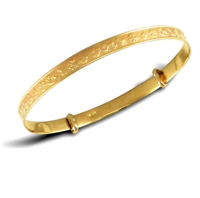 NEW 9ct  Gold Embossed Expanding Baby Bangle * Fully Hallmarked *