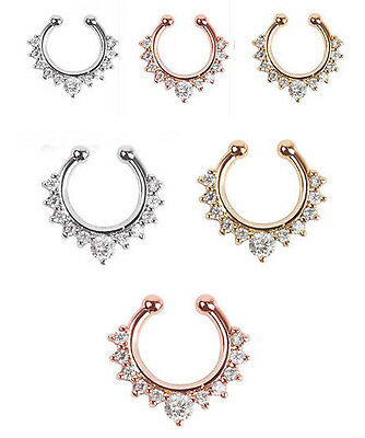 1PC Fake Nose Ring Non Piercing  Gem Ethnic Septum Piercings Body Hoop Nose