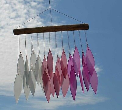 Frosted Glass Leaf Windchime Pink Fair Trade