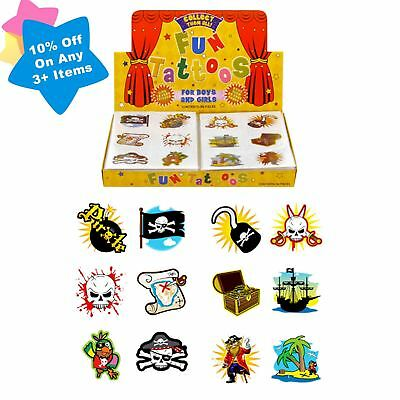 Boys 72 Childrens Pirate Temporary Tattoos Party Bag Filler Kids Toy