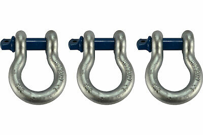 """3 Lot 1"""" D Ring Bow Shackle Screw Pin Clevis Rigging Jeep Towing 8.5 Ton"""