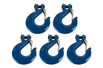 """5x 5/8"""" Chain Slip Safety Latch Hook Clevis Rigging Tow Winch Trailer Grade 70"""