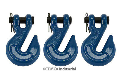 """3x 1/4"""" Chain Grab Hook Pin Clevis Rigging Tow Transport Truck Trailer Grade 70"""