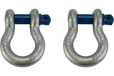"""2 Lot 1 1/8"""" D Ring Bow Shackle Screw Pin Clevis Rigging Jeep Towing 9.5 Ton"""