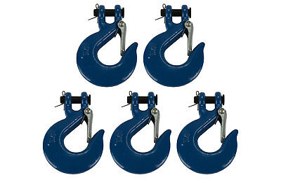 "5x 5/16"" Chain Slip Safety Latch Hook Clevis Rigging Tow Winch Trailer Grade 70"
