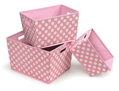 Nesting Trapezoid Foldable Storage Basket Set of 3 Pink Polka Dots NEW