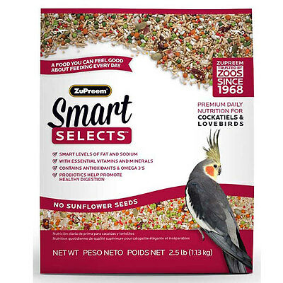 ZuPreem Smart Selects Cockatiels & Lovebird Direct from Manufacture Free Shipp