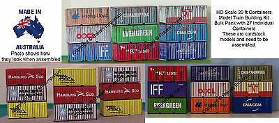 HO Scale 20ft Mixed Shipping Containers x 27, Model Railway Building Kit 20FTBC1