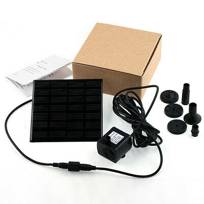 Solar Panel Submersible Fountain Pond Power Water Pump Kit Garden Pool Watering