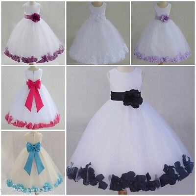 Girls Christening Bridesmaid Dresses Dress Petal Bow Tutu Chiffon Flower Petals