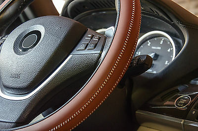 Italian Hand Made 'ARTISAN' Car Steering Wheel Cover in Soft Tan Brown Leather