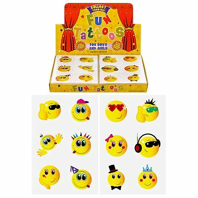 36 Childrens Smiley Temporary Tattoos Kids Loot Party Bag Fillers Boys Girls