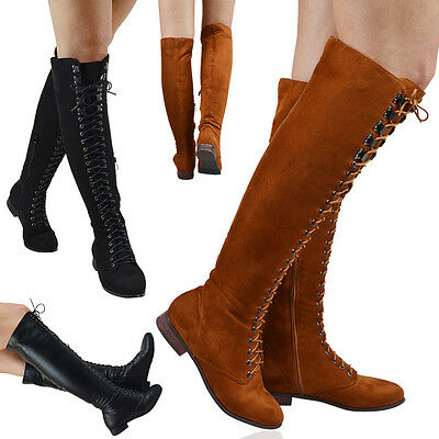 Womens Knee High Lace Up Combat Boots Ladies Zip Riding Military Shoes Size 3-8