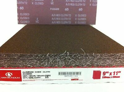 "Carborundum Abrasives 25 A/O Aluminum Oxide Cloth Sheets 60 Grit 9"" x 11"" XC0851"