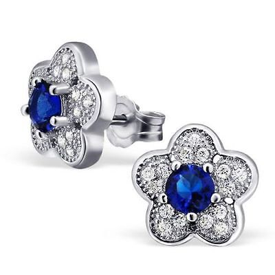 Sterling Silver Mircro Pave Setting Blue Flower Stud Earrings   - Gift Boxed