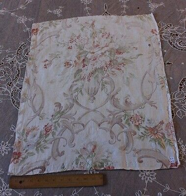 Old Antique Linen Time Worn Rose Shabby Textile Fabric c1930~Pillow,Frame,Design