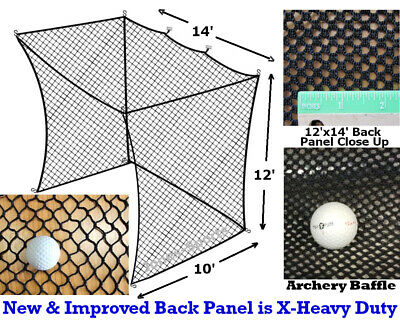 Golf Practice Net Insert 12'H x 14'W x 10'D For Batting Cages (#252Poly)