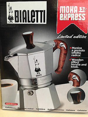 Bialetti Moka Express Espresso Maker 3 Cups limited edition stove top wooden