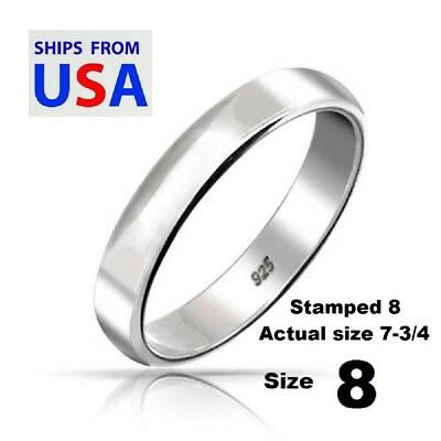 Clearance Sale 925 Sterling Silver 4mm Rounded Plain Band Ring- Size 7-3/4