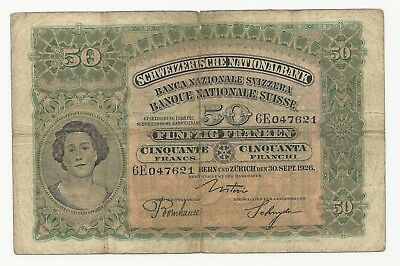 Switzerland 50 Franken 1926 in (VG) RARE Banknote P-34b