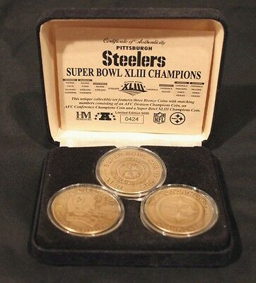 2008 Super Bowl Champs Pittsburgh Steelers The Highland Mint Bronze 3 Coin Set