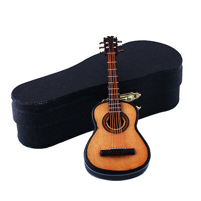 1:12 Mini Guitar Wooden Miniature Musical Dollhouse Best Gift With Case New