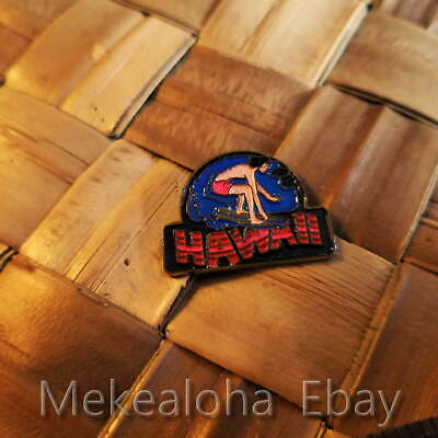 "1990's Big Wave Hawaii SURFER Enamel -Hat, Lapel Pin Tie Tack Hawaiian 1""in"
