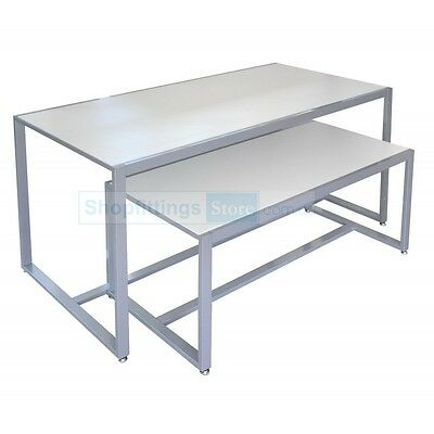 Display Nesting Tables Set of 2 White - Two Showcase nested tables for retail
