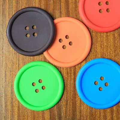 Giant Silicone Button Colourful Coaster Placemat - Blue Green Brown