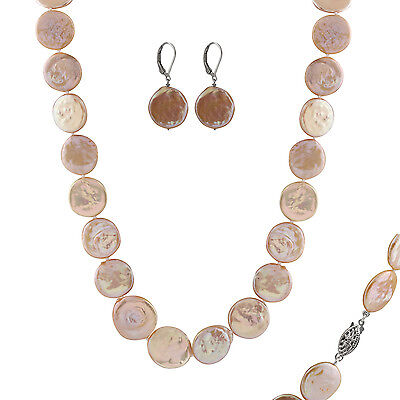 16mm pink coin pearl necklace and matching leverback earrings FGS-50