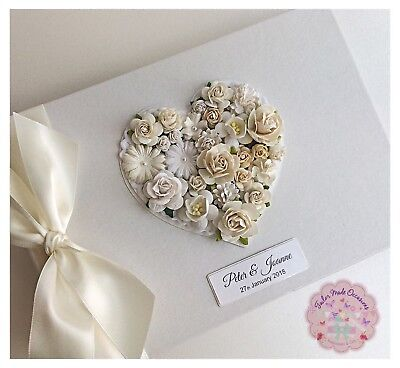 Vintage Wedding Guest Book Floral Personalised Various Colours Available!