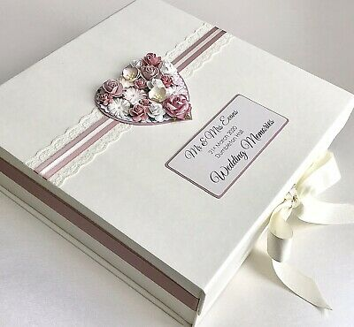 Personalised Wedding Keepsake Box Gift Memory Box Many Colours Vintage Floral