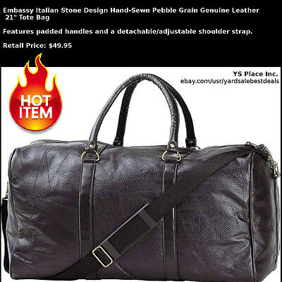 Black Pebble Grain Leather Gym Duffle Bag Travel Luggage Tote Carry-On Case