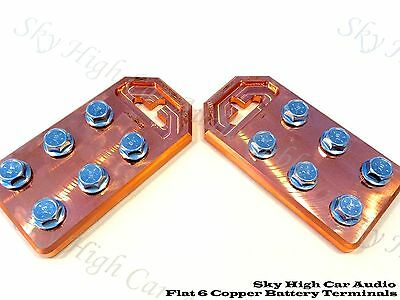Pair of Copper Sky High Any GA (6) Spot Flat BATTERY TERMINALS BOLT USE ONLY