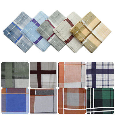 Unisex Men Women #U Lot Plaid Checked Pocket Quadrate Hanky Cotton Handkerchiefs