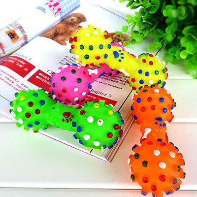Pet Dog Chew Toy Soft Small Rubber Bone Squeaky Toys Colorful Dot For Puppy Dog