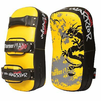 TurnerMAX Boxing Pads Muay Thai Punch Gear Yellow Black Curved Pair