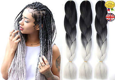 "24"" Ombre Two Tone Dip Dye Synthetic Braiding Hair Extensions Black & Light Grey"