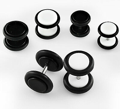 Lovely Black & White Acrylic Screw-on Fake Ear Earring Plugs with rubber O-Ring