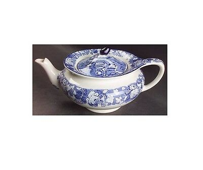 Teapot & Lid in English Scenery-Blue (Blue Backstamp,Smooth) by Wood & Sons