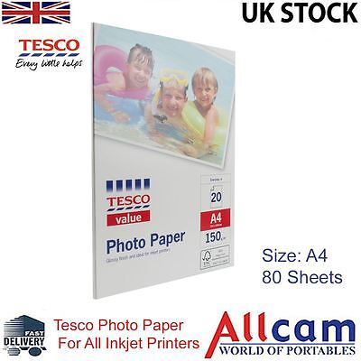4 Pack: Tesco Value Glossy Photo Paper A4 (210x297 mm) 150 g/m2 - 80 sheets