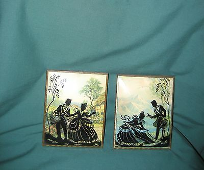 "Set of Vintage Silhouette Pictures Convex Glass, 4"" X 5"""