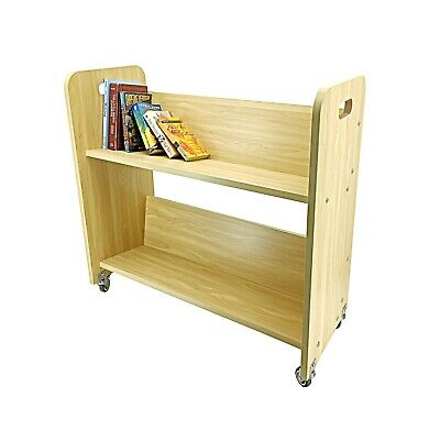 Wood Book Cart Library Cart Pew Cart Magazine Rack Moving Cart Rolling Storage