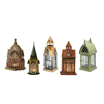 Set of 6 Glass and Metal Architectural Tealight Candle Lantern Houses