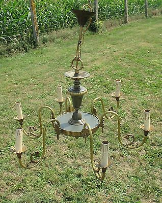 Vintage French Empire Chandelier 6 Arms Lights Green Shade Brass Stunning