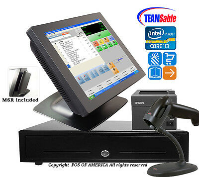 Team Sable i3POSRetail Complete TouchStation4GB MSR Windows7with pcAmerica