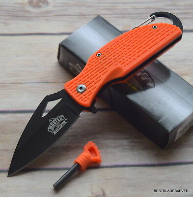 Master Usa Tactical Spring Assisted Knife With Fire Starter Flint & Carbineer