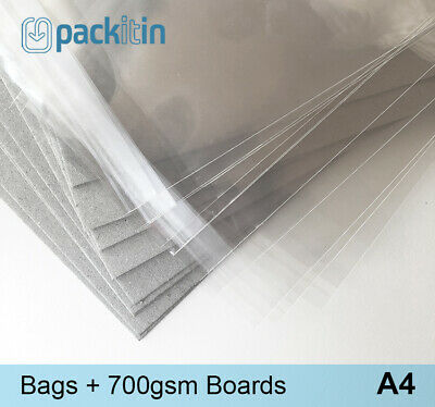 A4 (100 pack) Clear Cello Reseal Bags Sleeves + Matching Backing Boards (700gsm)